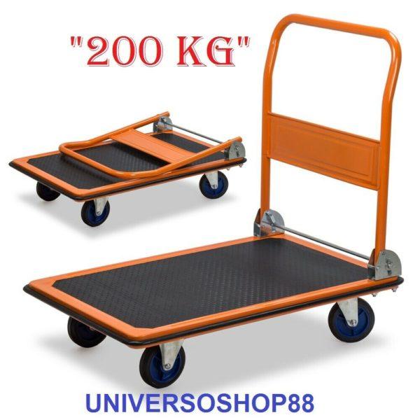 Carrello Portapacchi a piattaforma richiudibile 4 ruote porta tutto 200 Kg
