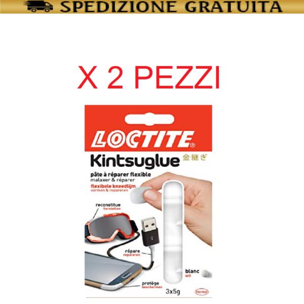 LOCTITE KINTSUGLUE BIANCA 3x5GR PASTA MODELLABILE FLESSIBILE IMPERMEABILE 2 PZ
