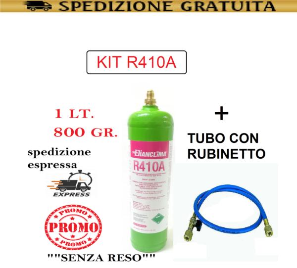 GAS R410A REFRIGERANTE RICARICA PER CLIMATIZZATORI + TUBO CON RUBINETTO