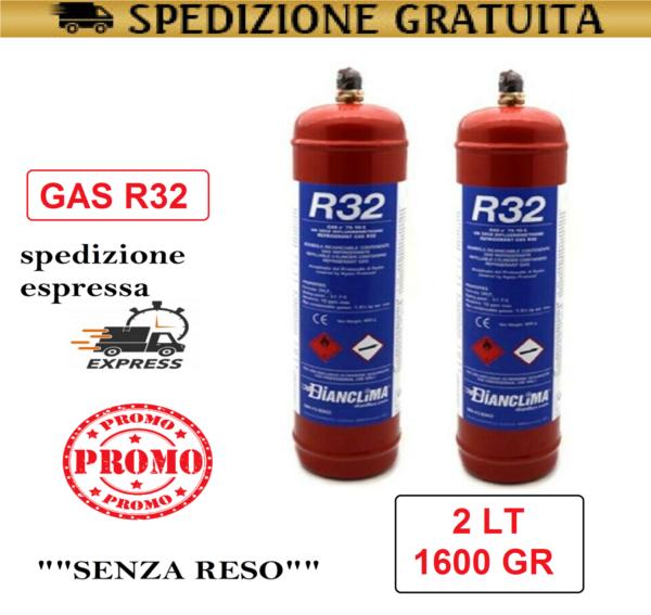 GAS R32 REFRIGERANTE RICARICA PER CLIMATIZZATORI CONDIZIONATORI BOMBOLA 2 PEZZI