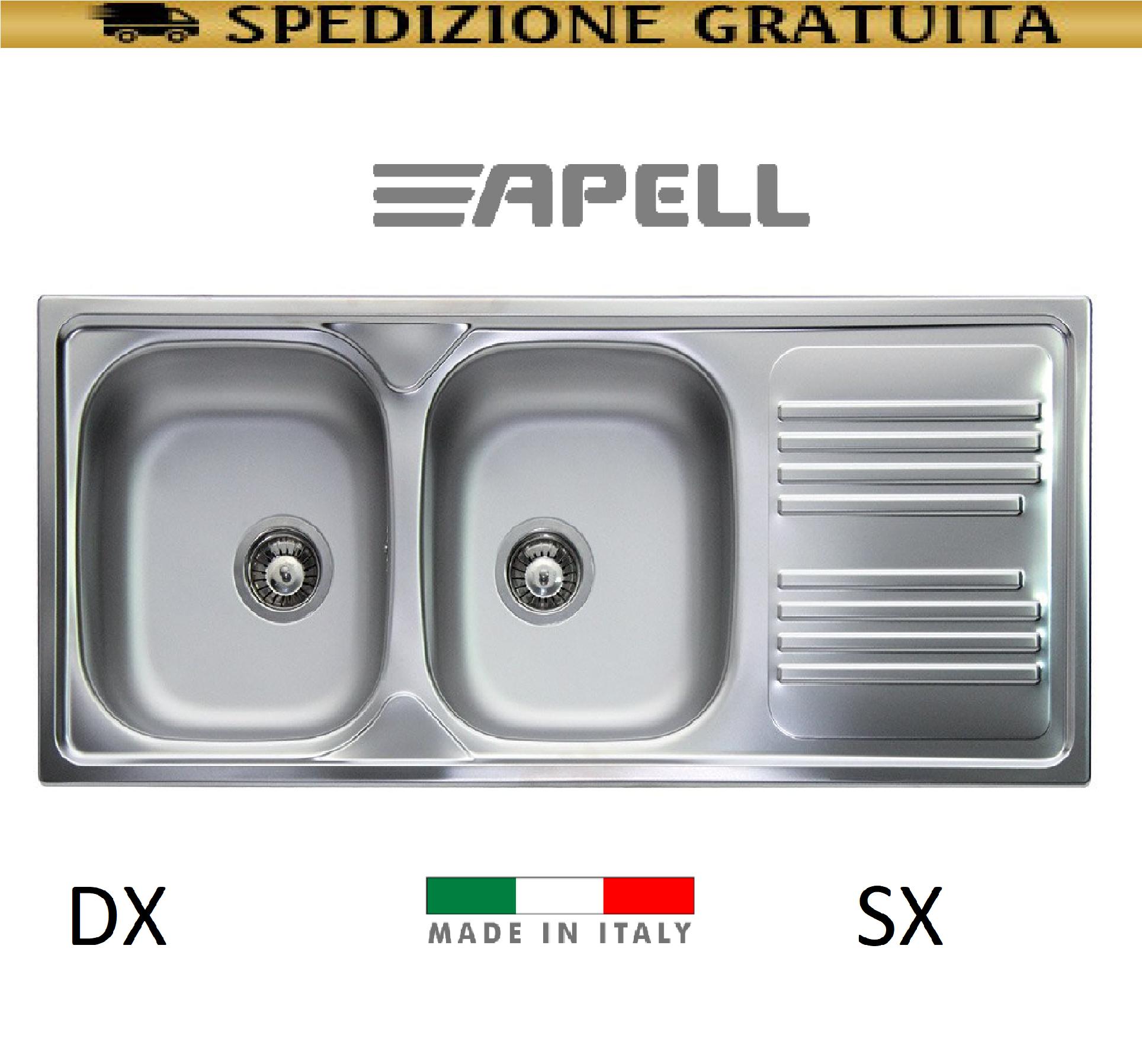 LAVELLO CUCINA INCASSO ACCIAIO INOX 2 VASCHE + GOCCIOLATOIO APELL MADE IN  ITALY