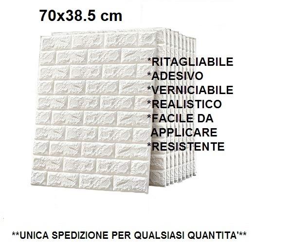 MURO FINTO PANNELLO FINTO MURO BIANCO PIETRA 70 x 38,5 CM ADESIVO REALISTICO