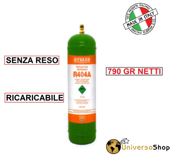 GAS R404A REFRIGERANTE RICARICA PER CLIMATIZZATORI BOMBOLA 790 GR NETTO