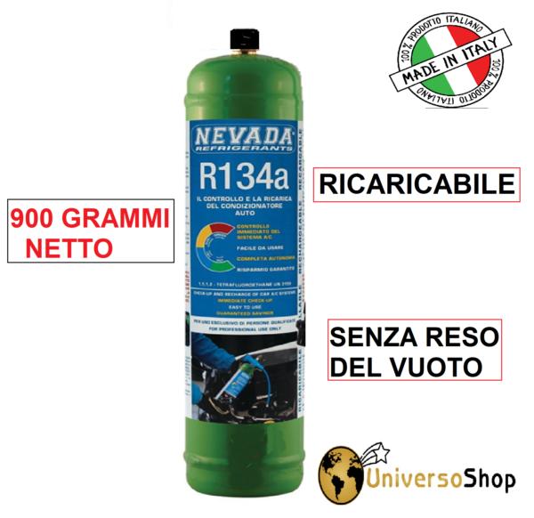 GAS R134A REFRIGERANTE BOMBOLA DA 1 LT 900 GR NETTO CLIMA AUTO