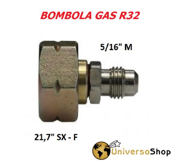 RACCORDO PER BOMBOLA R32 ADATTATORE PER GAS R32 5/16 M
