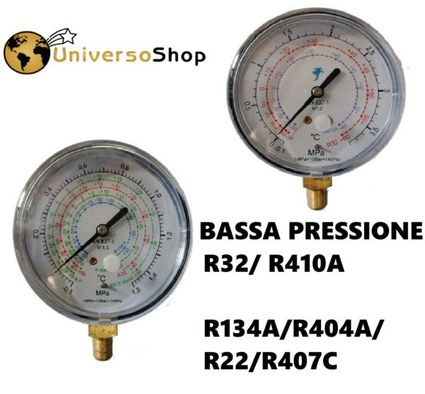 MANOMETRO BASSA PRESSIONE GAS REFRIGERANTE R410A R32 R134A R407C R404A R22