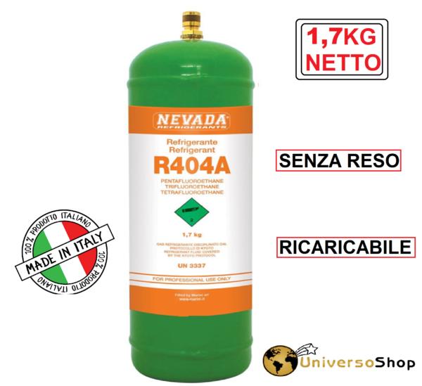 GAS R404A REFRIGERAN RICARICA PER CLIMATIZZATORI BOMBOLA 1,7 KG NETTO