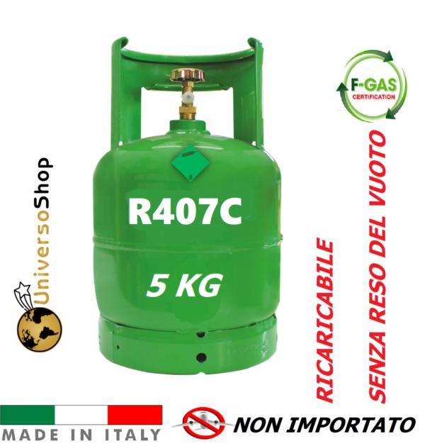 GAS R407C REFRIGERANTE RICARICA PER CLIMATIZZATORI CONDIZIONATORI BOMBOLA DA 5KG