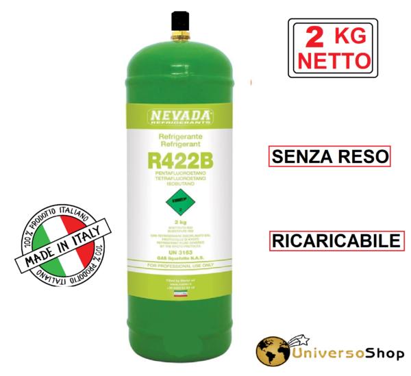 GAS R422B REFRIGERANTE RICARICA PER CLIMATIZZATORI BOMBOLA 2 KG SOSTITUTO R22