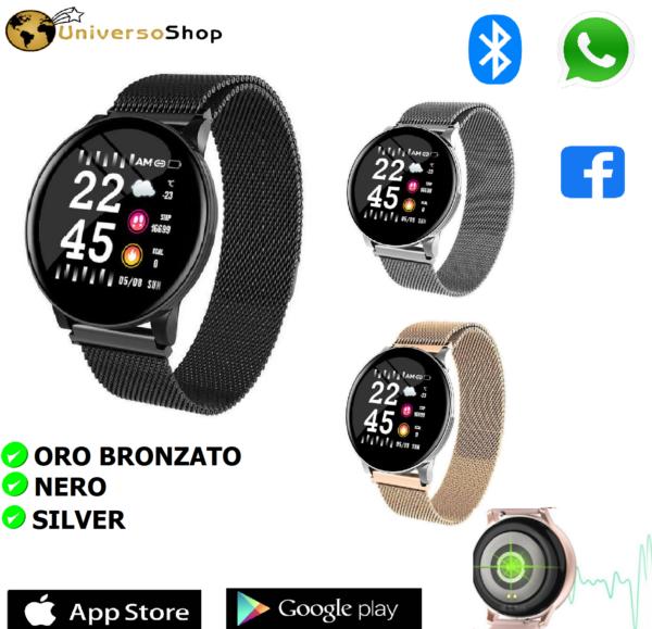 SMARTWATCH OROLOGIO ANDROID iOS CON BLUETOOTH CINTURINO IN METALLO MAGLIA MILANO